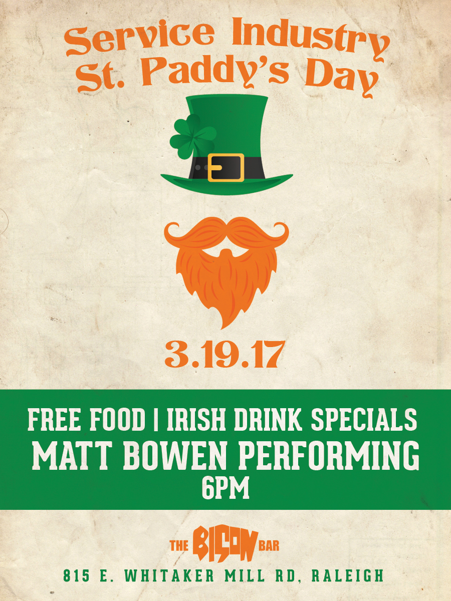bison bar raleigh st paddys day marketing design