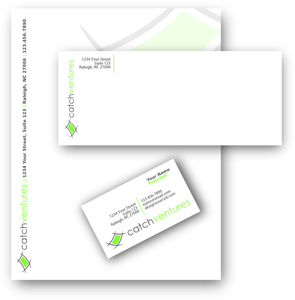 venture company stationery design including business cards letter head envelopes