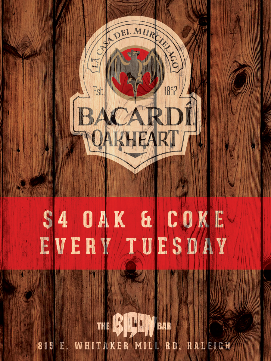 bison bar raleigh oak and coke marketing design
