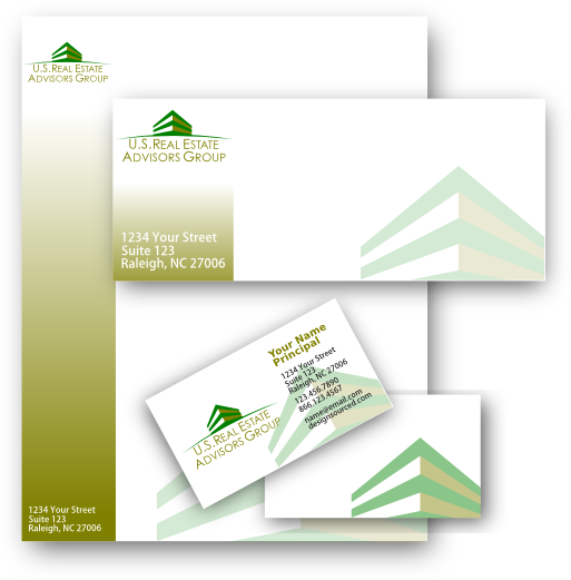 real estate company stationery design including business cards letter head envelopes
